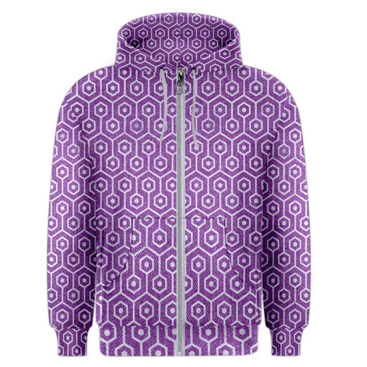HEXAGON1 WHITE MARBLE & PURPLE DENIM Men s Zipper Hoodie