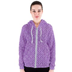 Hexagon1 White Marble & Purple Denim Women s Zipper Hoodie