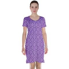 Hexagon1 White Marble & Purple Denim Short Sleeve Nightdress
