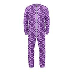 Hexagon1 White Marble & Purple Denim Onepiece Jumpsuit (kids)