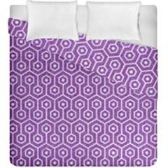 Hexagon1 White Marble & Purple Denim Duvet Cover Double Side (king Size)