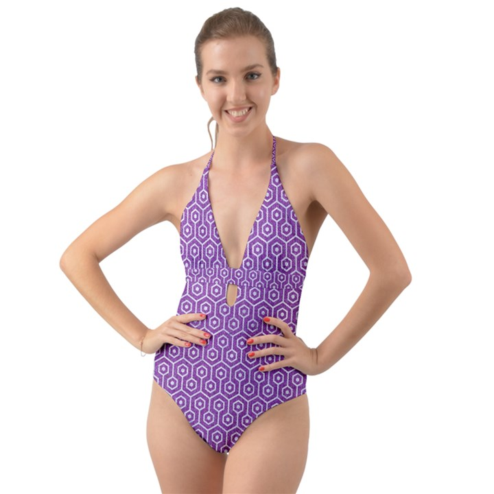 HEXAGON1 WHITE MARBLE & PURPLE DENIM Halter Cut-Out One Piece Swimsuit
