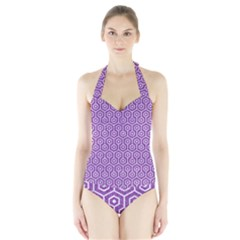 Hexagon1 White Marble & Purple Denim Halter Swimsuit