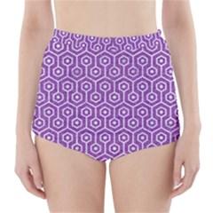 Hexagon1 White Marble & Purple Denim High Waisted Bikini Bottoms