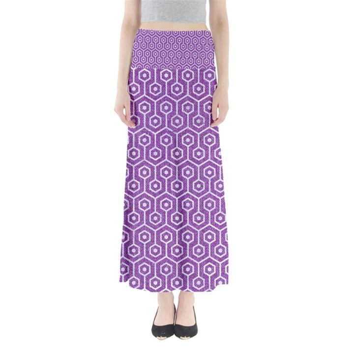 HEXAGON1 WHITE MARBLE & PURPLE DENIM Full Length Maxi Skirt