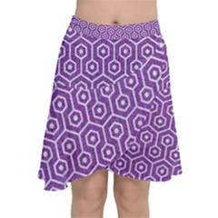 Hexagon1 White Marble & Purple Denim Chiffon Wrap