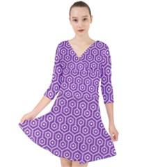 Hexagon1 White Marble & Purple Denim Quarter Sleeve Front Wrap Dress