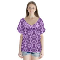 Hexagon1 White Marble & Purple Denim V Neck Flutter Sleeve Top
