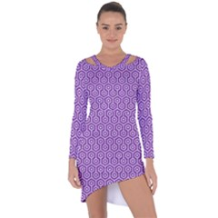 Hexagon1 White Marble & Purple Denim Asymmetric Cut Out Shift Dress