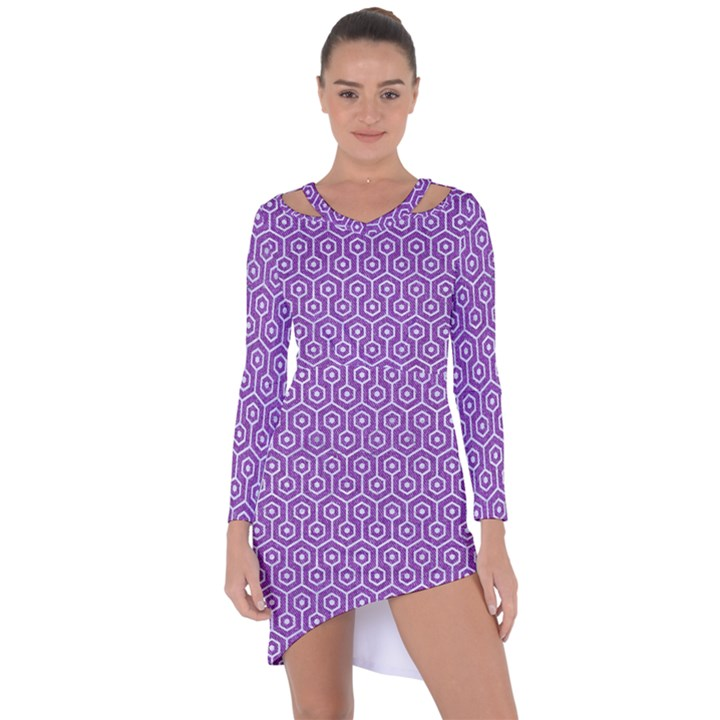 HEXAGON1 WHITE MARBLE & PURPLE DENIM Asymmetric Cut-Out Shift Dress