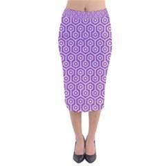 Hexagon1 White Marble & Purple Denim Velvet Midi Pencil Skirt
