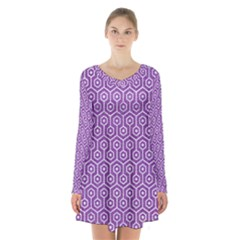 Hexagon1 White Marble & Purple Denim Long Sleeve Velvet V Neck Dress