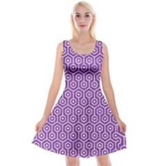 Hexagon1 White Marble & Purple Denim Reversible Velvet Sleeveless Dress
