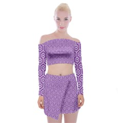 Hexagon1 White Marble & Purple Denim Off Shoulder Top With Mini Skirt Set by trendistuff