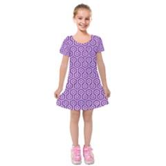 Hexagon1 White Marble & Purple Denim Kids  Short Sleeve Velvet Dress