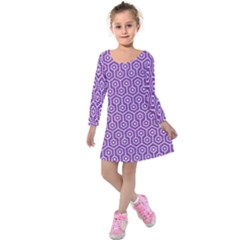 Hexagon1 White Marble & Purple Denim Kids  Long Sleeve Velvet Dress