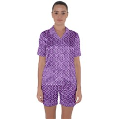 Hexagon1 White Marble & Purple Denim Satin Short Sleeve Pyjamas Set