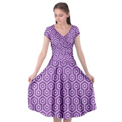 Hexagon1 White Marble & Purple Denim Cap Sleeve Wrap Front Dress