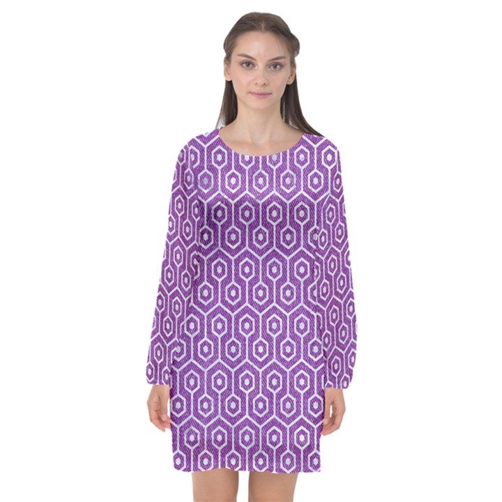 HEXAGON1 WHITE MARBLE & PURPLE DENIM Long Sleeve Chiffon Shift Dress