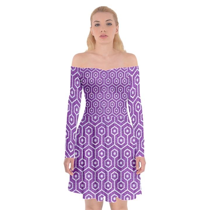 HEXAGON1 WHITE MARBLE & PURPLE DENIM Off Shoulder Skater Dress