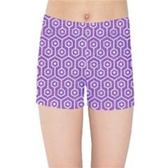 Hexagon1 White Marble & Purple Denim Kids Sports Shorts