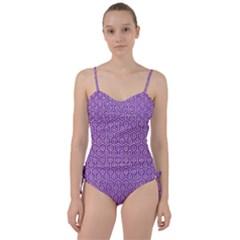 Hexagon1 White Marble & Purple Denim Sweetheart Tankini Set
