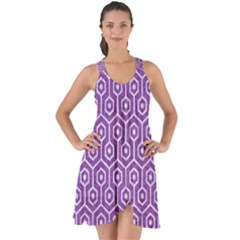Hexagon1 White Marble & Purple Denim Show Some Back Chiffon Dress
