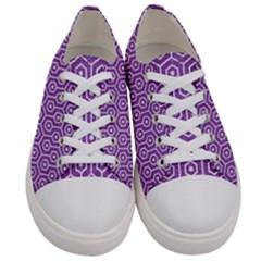 Hexagon1 White Marble & Purple Denim Women s Low Top Canvas Sneakers