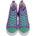HEXAGON1 WHITE MARBLE & PURPLE DENIM Women s Mid-Top Canvas Sneakers View1
