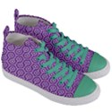 HEXAGON1 WHITE MARBLE & PURPLE DENIM Women s Mid-Top Canvas Sneakers View3