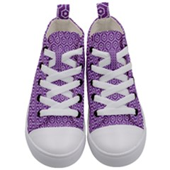 Hexagon1 White Marble & Purple Denim Kid s Mid Top Canvas Sneakers
