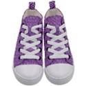 HEXAGON1 WHITE MARBLE & PURPLE DENIM Kid s Mid-Top Canvas Sneakers View1