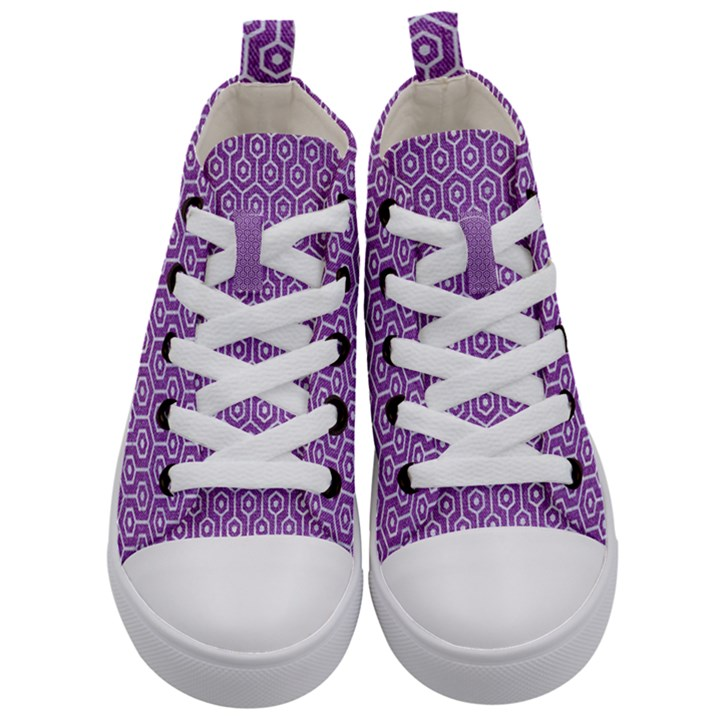 HEXAGON1 WHITE MARBLE & PURPLE DENIM Kid s Mid-Top Canvas Sneakers