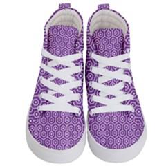 Hexagon1 White Marble & Purple Denim Kid s Hi Top Skate Sneakers