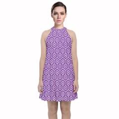 Hexagon1 White Marble & Purple Denim Velvet Halter Neckline Dress