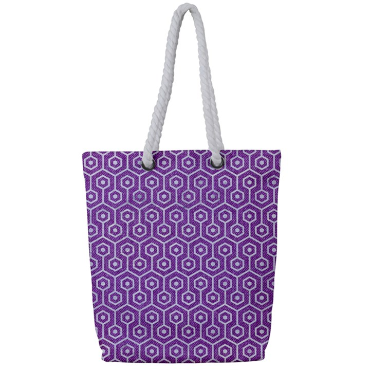 HEXAGON1 WHITE MARBLE & PURPLE DENIM Full Print Rope Handle Tote (Small)