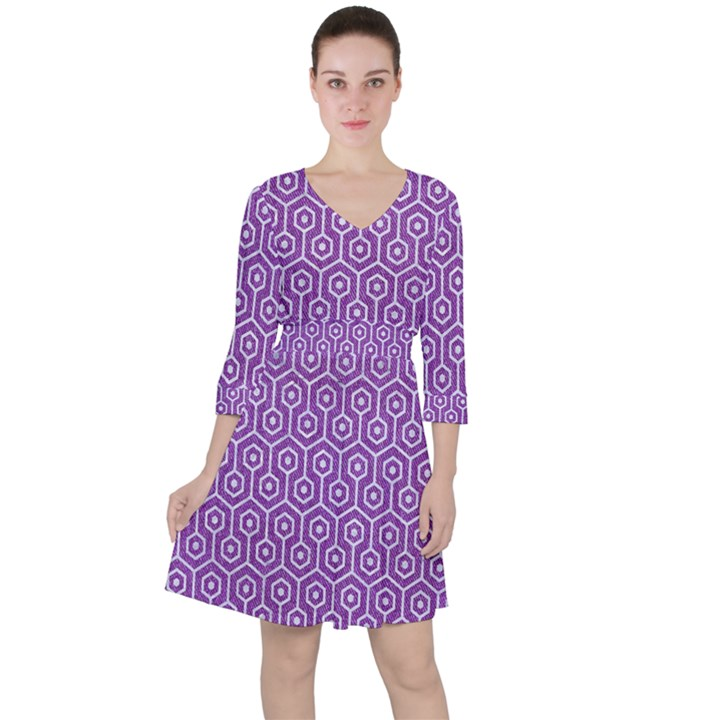 HEXAGON1 WHITE MARBLE & PURPLE DENIM Ruffle Dress