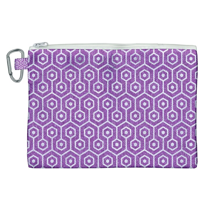HEXAGON1 WHITE MARBLE & PURPLE DENIM Canvas Cosmetic Bag (XL)