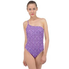 Hexagon1 White Marble & Purple Denim Classic One Shoulder Swimsuit