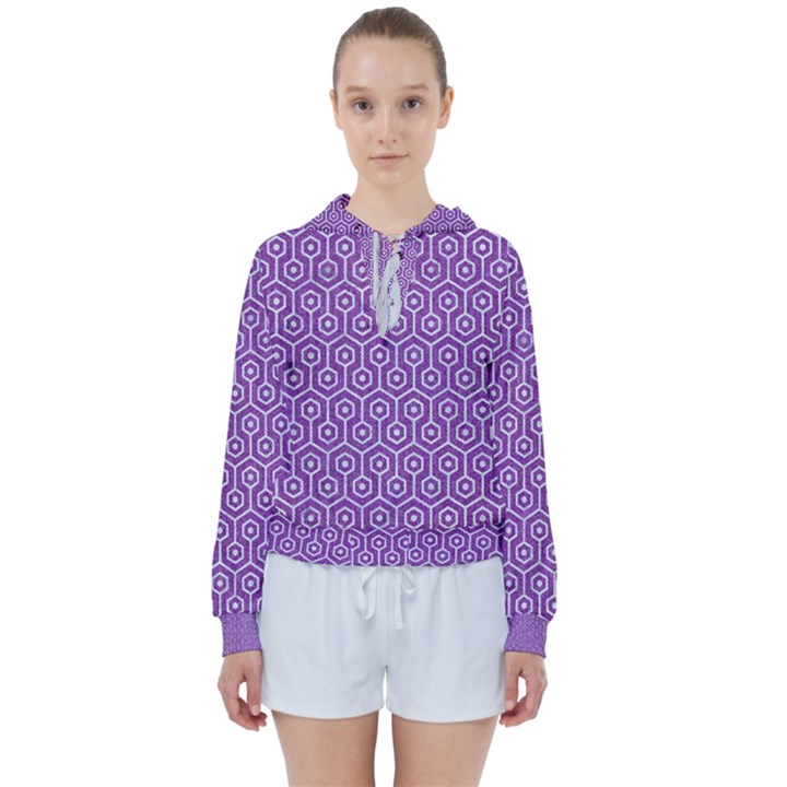 HEXAGON1 WHITE MARBLE & PURPLE DENIM Women s Tie Up Sweat