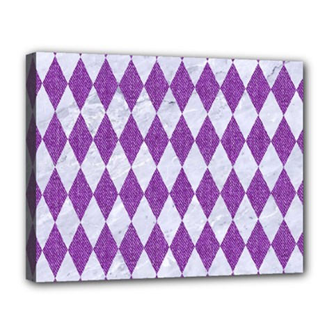 Diamond1 White Marble & Purple Denim Canvas 14  X 11
