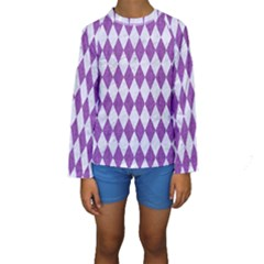 Diamond1 White Marble & Purple Denim Kids  Long Sleeve Swimwear