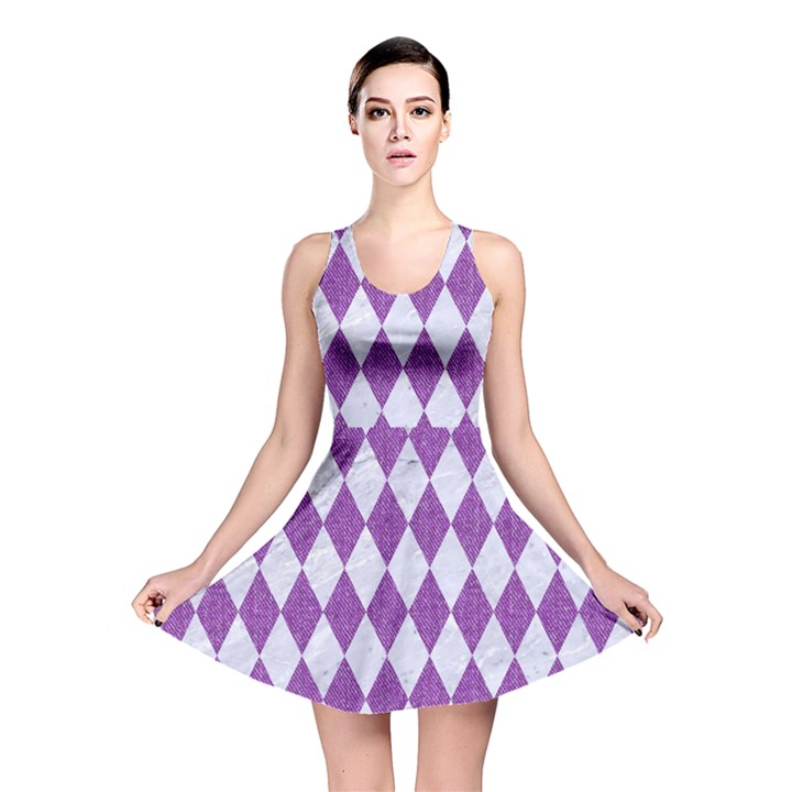 DIAMOND1 WHITE MARBLE & PURPLE DENIM Reversible Skater Dress