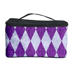 Diamond1 White Marble & Purple Denim Cosmetic Storage Case