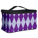 DIAMOND1 WHITE MARBLE & PURPLE DENIM Cosmetic Storage Case View2