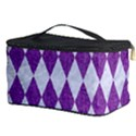 DIAMOND1 WHITE MARBLE & PURPLE DENIM Cosmetic Storage Case View3