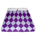 DIAMOND1 WHITE MARBLE & PURPLE DENIM Fitted Sheet (Queen Size) View1