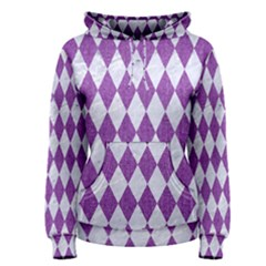 Diamond1 White Marble & Purple Denim Women s Pullover Hoodie