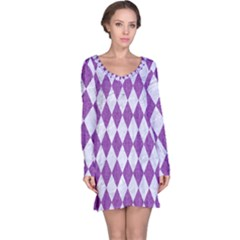 Diamond1 White Marble & Purple Denim Long Sleeve Nightdress