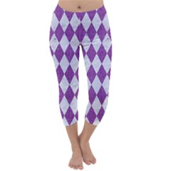 Diamond1 White Marble & Purple Denim Capri Winter Leggings